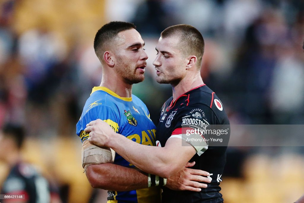 Kieran Foran of the Warriors is congratulated by Corey Norman of the Eels after the round six NRL match between the New Zealand Warriors and the Parramatta Eels at Mt Smart Stadium on April 9, 2017 in Auckland, New Zealand.