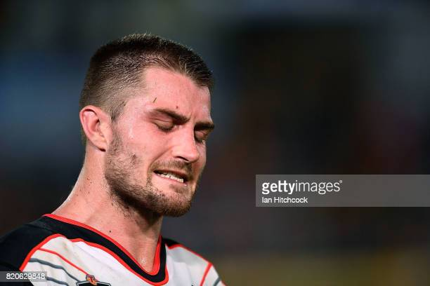 Kieran Foran of the Warriors looks dejected after losing the round 20 NRL match between the North Queensland Cowboys and the New Zealand Warriors at...
