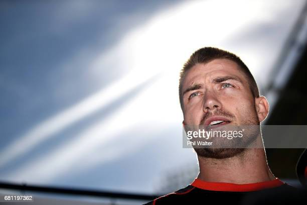 Kieran Foran of the Warriors speaks to media during a New Zealand Warriors NRL media session at Mt Smart Stadium on May 10 2017 in Auckland New...