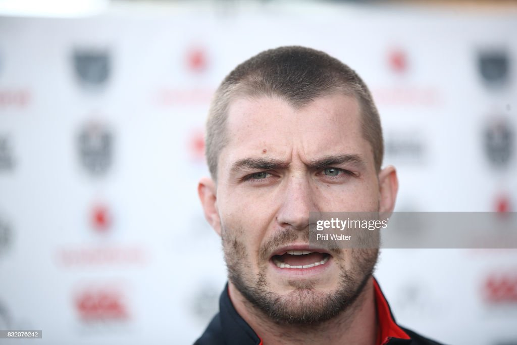 Kieran Foran speaks to the media during a New Zealand Warriors NRL media session at Mt Smart Stadium on August 16, 2017 in Auckland, New Zealand.
