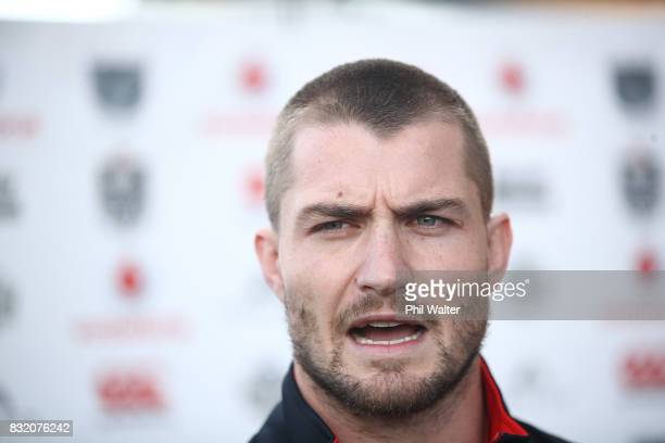 Kieran Foran speaks to the media during a New Zealand Warriors NRL media session at Mt Smart Stadium on August 16 2017 in Auckland New Zealand
