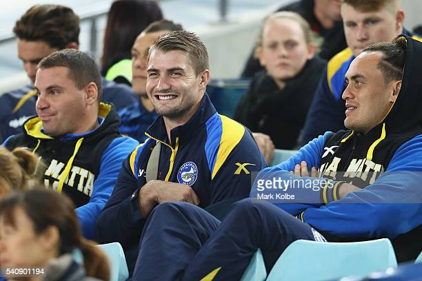 Kieran Foran watches on from the stands during the round 15 NRL match between the South Sydney Rabbitohs and the Parramatta Eels at ANZ Stadium on...