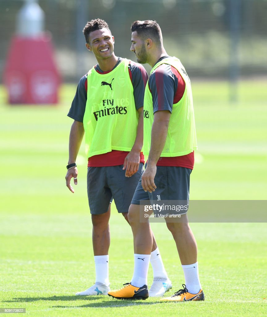 Kieran Gibbs and Sead Kolasinac of Arsenal during a training session at London Colney on July 5, 2017 in St Albans, England.