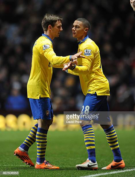 Kieran Gibbs comes on to replace Nacho Monreal of Arsenal during the Aston Villa against Arsenal Barclays Premier League match at Villa Park on...