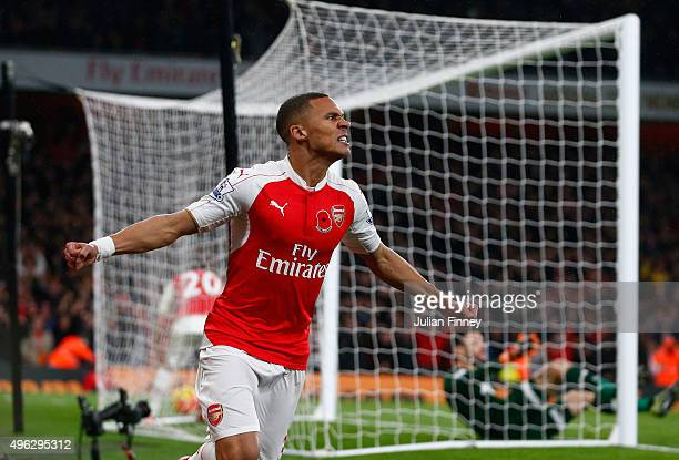 Kieran Gibbs of Arsenal celebrates scoring his side's first goal during the Barclays Premier League match between Arsenal and Tottenham Hotspur at...