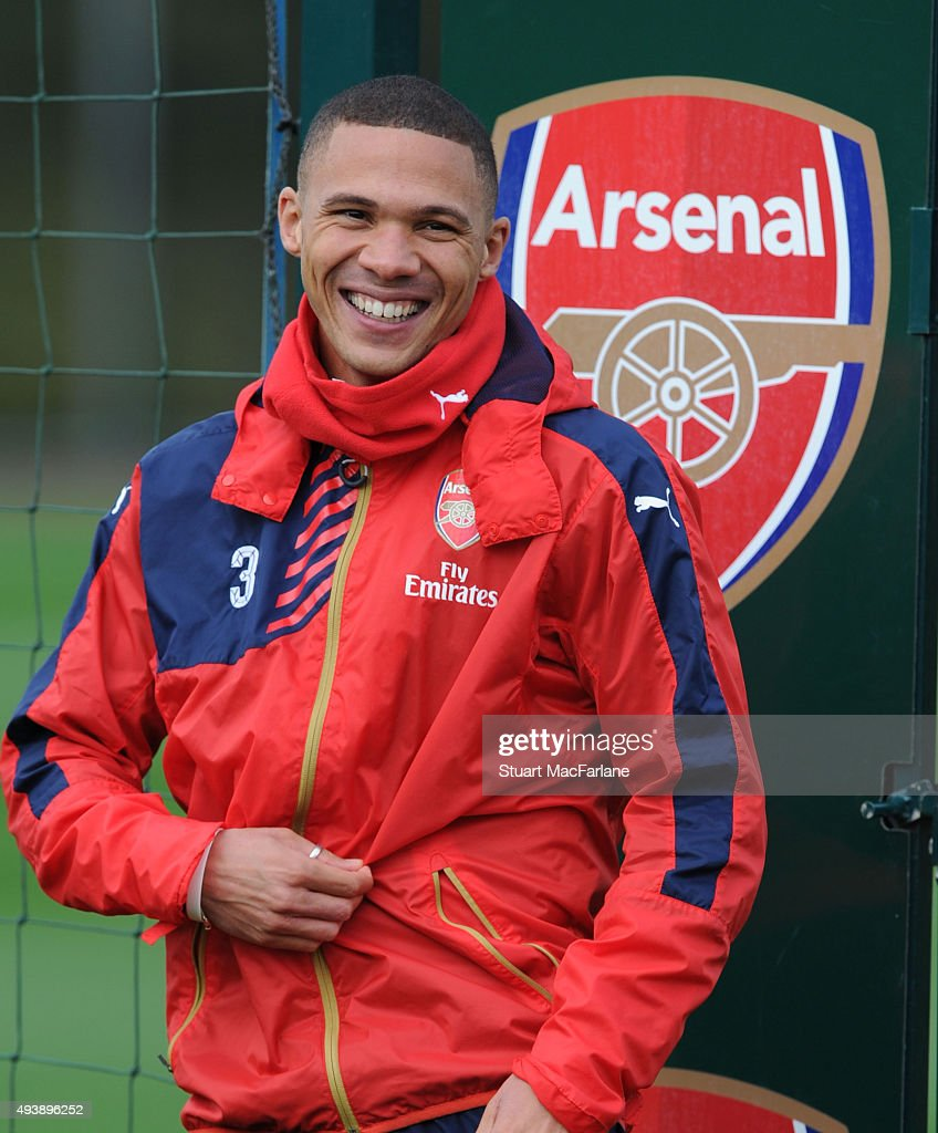 Kieran Gibbs of Arsenal during a training session at London Colney on October 23, 2015 in St Albans, England.