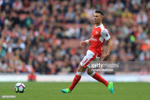 Kieran Gibbs of Arsenal in action during the Premier League match between Arsenal and Manchester United at Emirates Stadium on May 7 2017 in London...