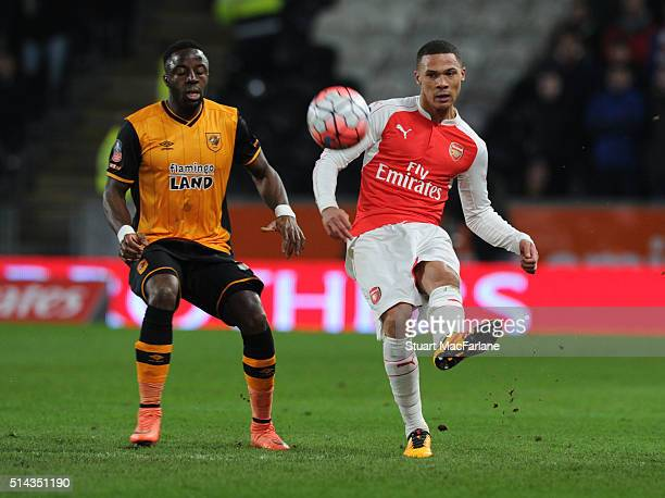 Kieran Gibbs of Arsenal takes on Adama Diomande of Hull during the Emirates FA Cup 5th Round replay between Hull City and Arsenal at the KC Stadium...