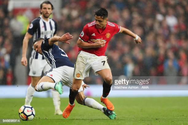 Kieran Gibbs of West Bromwich Albion and Alexis Sanchez of Manchester United during the Premier League match between Manchester United and West...