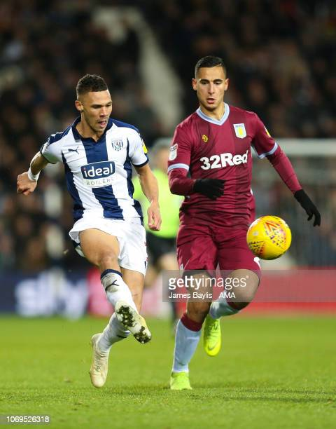 Kieran Gibbs of West Bromwich Albion and Anwar El Ghazi of Aston Villa during the Sky Bet Championship match between West Bromwich Albion and Aston...