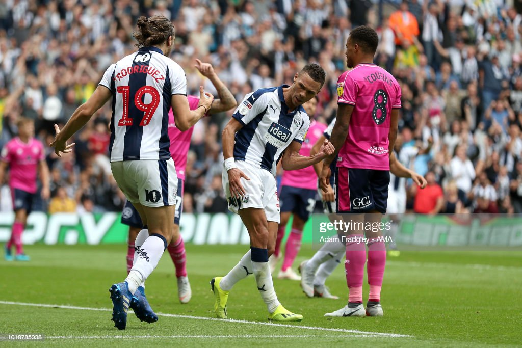 Kieran Gibbs of West Bromwich Albion celebrates after scoring a goal to make it 2-1 during the Sky Bet Championship match between West Bromwich Albion and Queens Park Rangers at The Hawthorns on August 18, 2018 in West Bromwich, England.