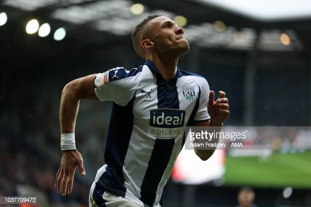 Kieran Gibbs of West Bromwich Albion celebrates after scoring a goal to make it 20 during the Sky Bet Championship match between West Bromwich Albion...