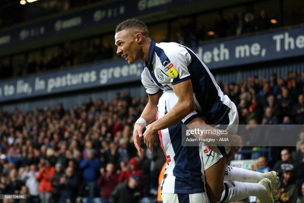 Kieran Gibbs of West Bromwich Albion celebrates after scoring a goal to make it 2-0 during the Sky Bet Championship match between West Bromwich Albion and Millwall at The Hawthorns on September 22, 2018 in West Bromwich, England.
