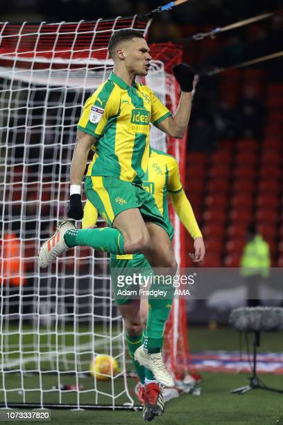 Kieran Gibbs of West Bromwich Albion celebrates after scoring a goal to make it 12 during the Sky Bet Championship match between Sheffield United and...