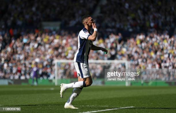 Kieran Gibbs of West Bromwich Albion celebrates after scoring a goal to make it 1-0 during the Sky Bet Championship match between West Bromwich...