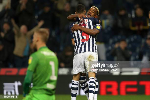 Kieran Gibbs of West Bromwich Albion celebrates after scoring a goal to make it 1-0 with Grady Diangana of West Bromwich Albion during the Sky Bet...
