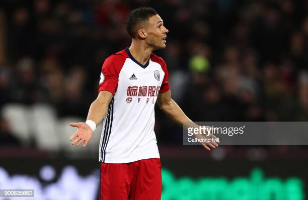 Kieran Gibbs of West Bromwich Albion during the Premier League match between West Ham United and West Bromwich Albion at London Stadium on January 2...