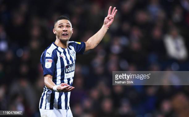 Kieran Gibbs of West Bromwich Albion gestures during the Sky Bet Championship match between West Bromwich Albion and Bristol City at The Hawthorns on...