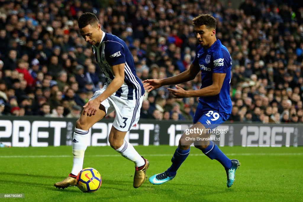 Kieran Gibbs of West Bromwich Albion is challenged by Dominic Calvert-Lewin of Everton during the Premier League match between West Bromwich Albion and Everton at The Hawthorns on December 26, 2017 in West Bromwich, England.