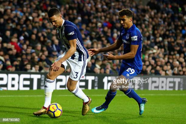 Kieran Gibbs of West Bromwich Albion is challenged by Dominic CalvertLewin of Everton during the Premier League match between West Bromwich Albion...