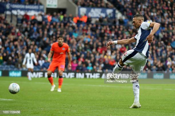 Kieran Gibbs of West Bromwich Albion scores a goal to make it 20 during the Sky Bet Championship match between West Bromwich Albion and Millwall at...