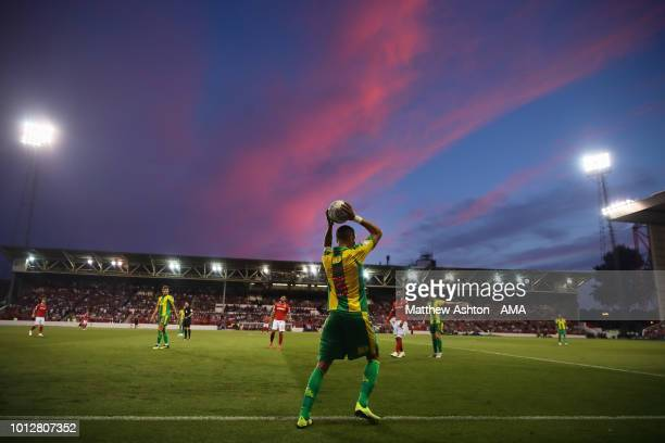 Kieran Gibbs of West Bromwich Albion takes a thrown in against a sunset sky during the Sky Bet Championship match between Nottingham Forest v West...