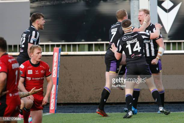 Kieran Gill of Newcastle Thunder celebrates after scoring a late try to tie the scores at 30-30 during the BETFRED Championship match between...