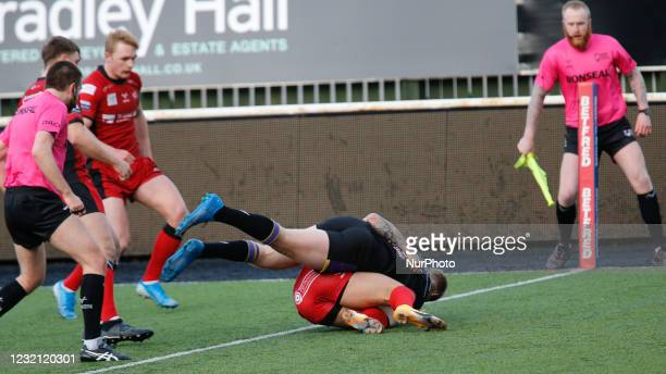 Kieran Gill of Newcastle Thunder scores a late try to tie the scores at 3030 during the BETFRED Championship match between Newcastle Thunder and...