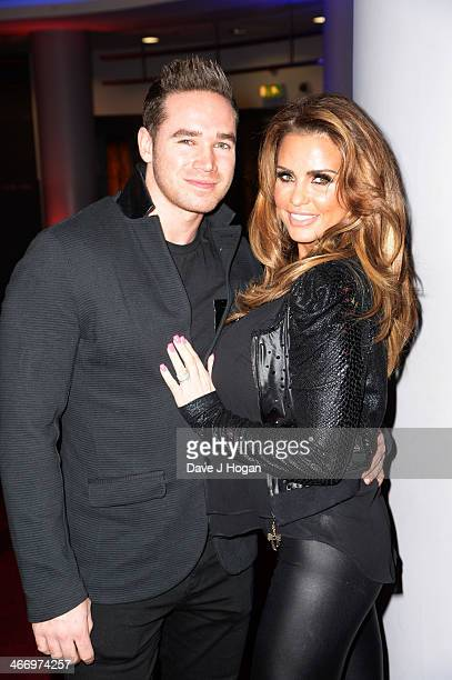 Kieran Hayler and Katie Price attends the world premiere of 'RoboCop' at The IMAX on February 05 2014 in London England