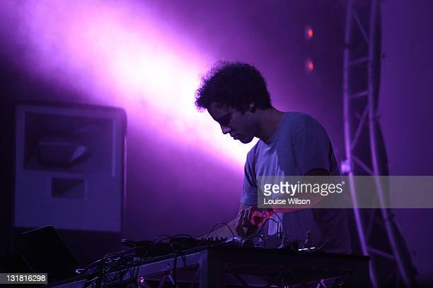 Kieran Hebden of Four Tet fame performs a DJ set during day two of the Playground Weekender Music Festival at Wisemans Ferry on February 18 2011 in...