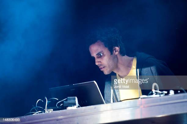 Kieran Hebden of Four Tet performs on stage during BBK Live at Kobetamendi on July 13 2012 in Bilbao Spain