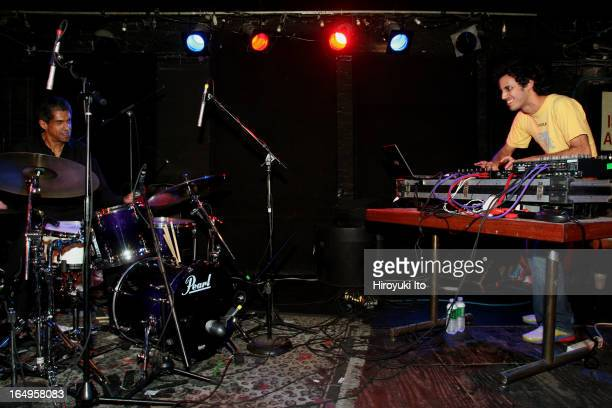 Kieran Hebden on electronics and Steve Reid on drums performing at Mercury Lounge on Monday night April 3 2006