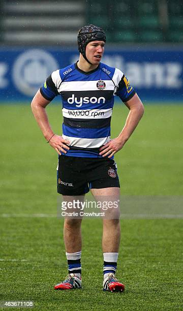 Kieran Kelly of Bath during the Premiership Rugby/RFU U18 Academy Finals Day match between Leicester and Bath at The Allianz Park on February 16 2015...