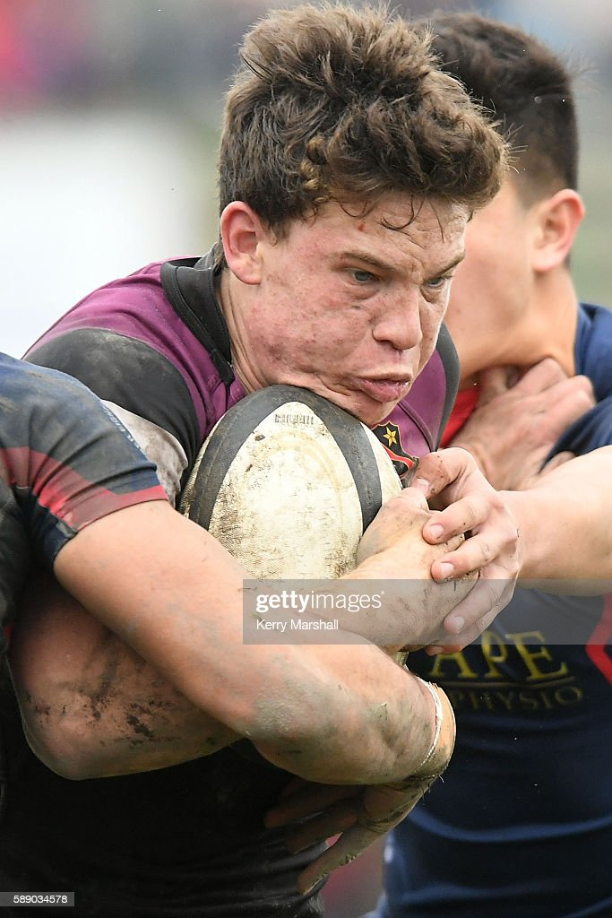 Kieran Lee of Hamilton Boys High School in action during the Super Eight 1st XV Final match between Hastings Boys High and Hamilton Boys High at Hastings Boys High on August 13, 2016 in Hastings, New Zealand.