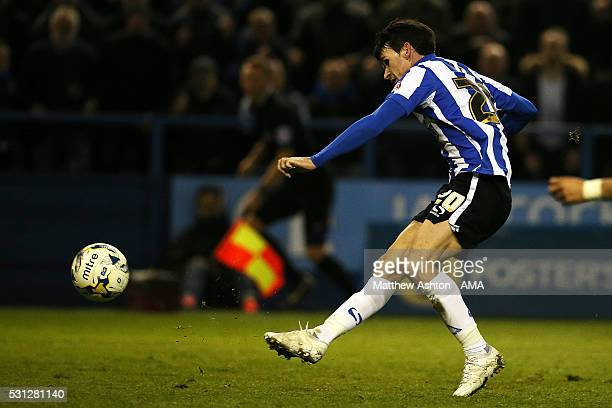 Kieran Lee of Sheffield Wednesday scores a goal to make the score 20 during the Sky Bet Championship Play Off First Leg match between Sheffield...