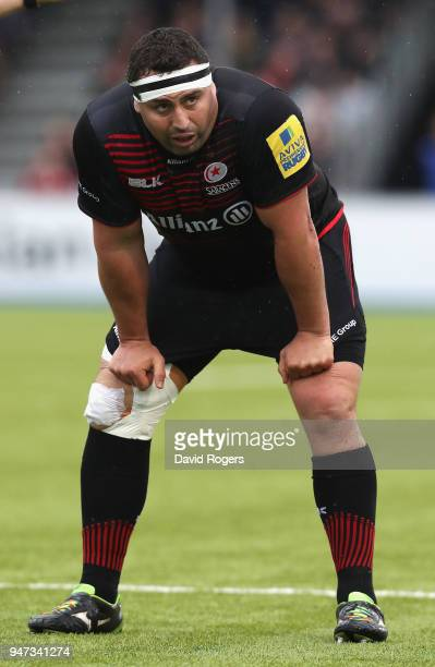 Kieran Longbottom of Saracens looks on during the Aviva Premiership match between Saracens and Bath Rugby at Allianz Park on April 15 2018 in Barnet...