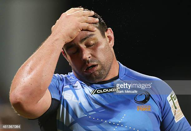 Kieran Longbottom of the Force looks dejected after defeat in the round 17 Super Rugby match between the Force and the Blues at nib Stadium on June...