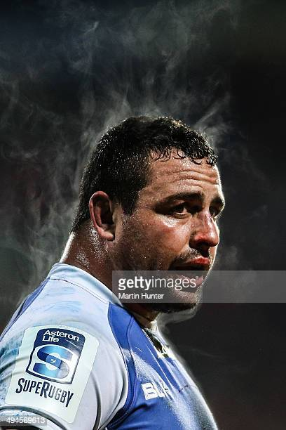 Kieran Longbottom of the Force looks on during the round 16 Super Rugby match between the Crusaders and the Western Force at AMI Stadium on May 30...