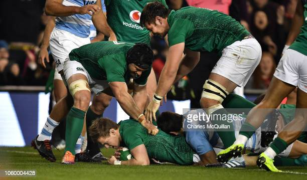 Kieran Marmion of Ireland scores a try during the International Friendly match between Ireland and Argentina at Aviva Stadium on November 10 2018 in...