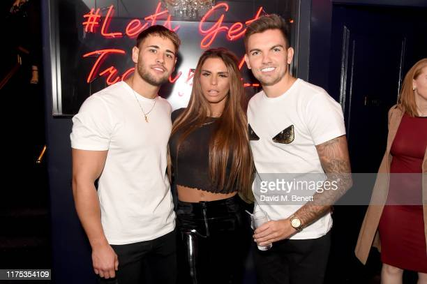 Kieran Nicholls, Katie Price and Sam Gowland attend Chris Eubank Jr's surprise birthday party at Tramp on September 17, 2019 in London, England.