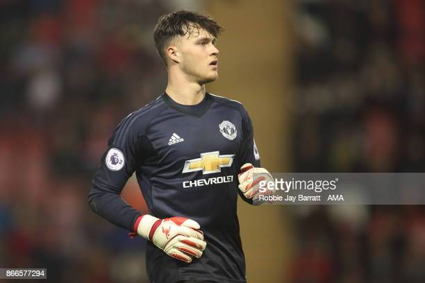Kieran OHara of Manchester United during the Premier League 2 fixture between Manchester United and Liverpool at Leigh Sports Village on October 23...