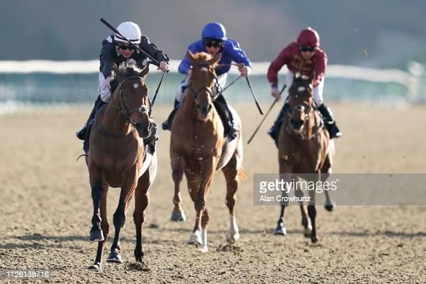 Kieran O'Neill riding Anapurna win The Ladbrokes Maiden Fillies' Stakes at Lingfield Park Racecourse on January 30 2019 in Lingfield England