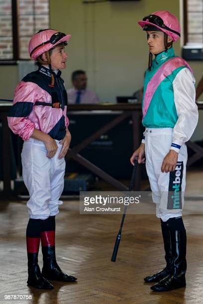 Kieran ONeill with Harry Bentley in the weighing room at Newmarket Racecourse on June 30 2018 in Newmarket United Kingdom