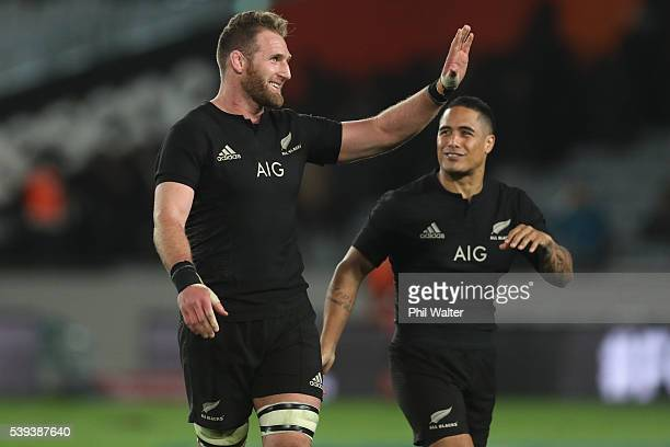 Kieran Read and Aaron Smith of the All Blacks wave to fans following the International Test match between the New Zealand All Blacks and Wales at...