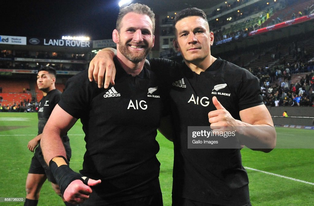 Kieran Read and Sonny Bill Williams of New Zealand after the Rugby Championship 2017 match between South Africa and New Zealand at DHL Newlands on October 07, 2017 in Cape Town, South Africa.