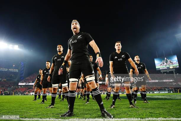 Kieran Read and the All Blacks perform the haka prior to the Test match between the New Zealand All Blacks and the British Irish Lions at Eden Park...