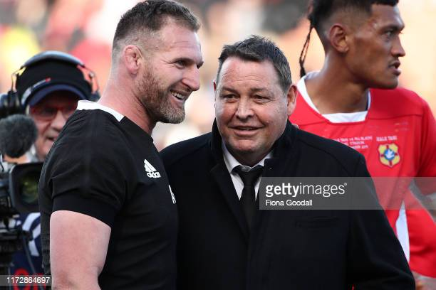 Kieran Read, captain of the All Blacks with All Blacks coach Steve Hansen during the rugby Test Match between the New Zealand All Blacks and Tonga at...