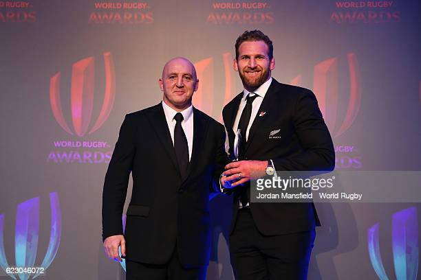 Kieran Read is presented with the World Rugby Team of the Year 2016 Award on behalf of the All Blacks by Keith Wood during the World Rugby Awards...