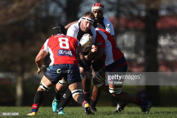 Kieran Read of Counties is tackled during the Mitre 10 Cup trial match between Counties Manukau and Tasman at Mountford Park on June 27 2018 in...