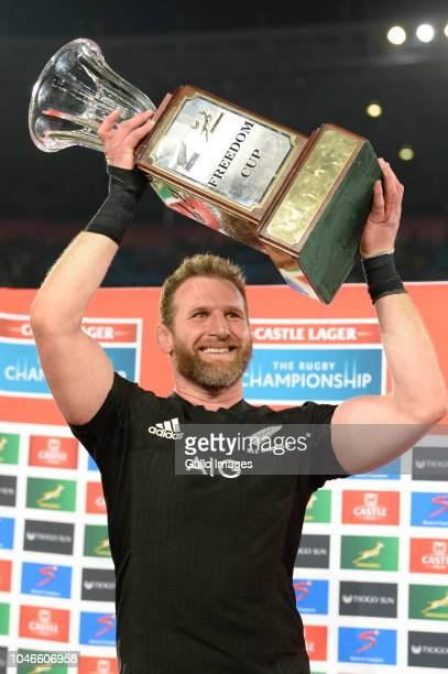 Kieran Read of New Zealand celebrates after winning the Rugby Championship match between South Africa and New Zealand at Loftus Versfeld on October...